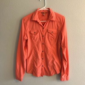 Lucy Button Down Coral Top Size S 042